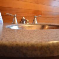 Solid surface bathroom vanity custom countertops Mike's Countertop Shop Sudbury Ontario.